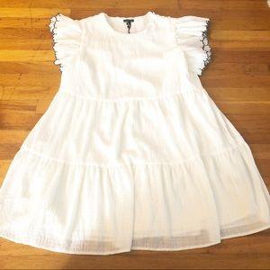 Who What Wear White Ruffled Dress Size XL B